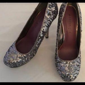 Madden Girl Silver Sparkling Stilettos, Size 8